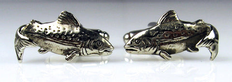 Sterling Silver Jumping Trout Cuff Links