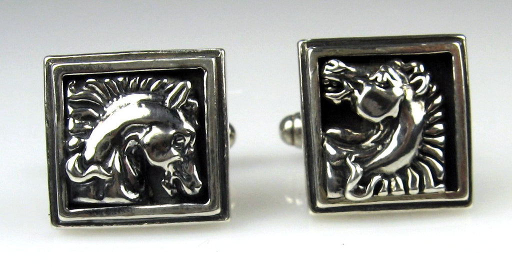 Sterling Silver Horse Head Cuff Links