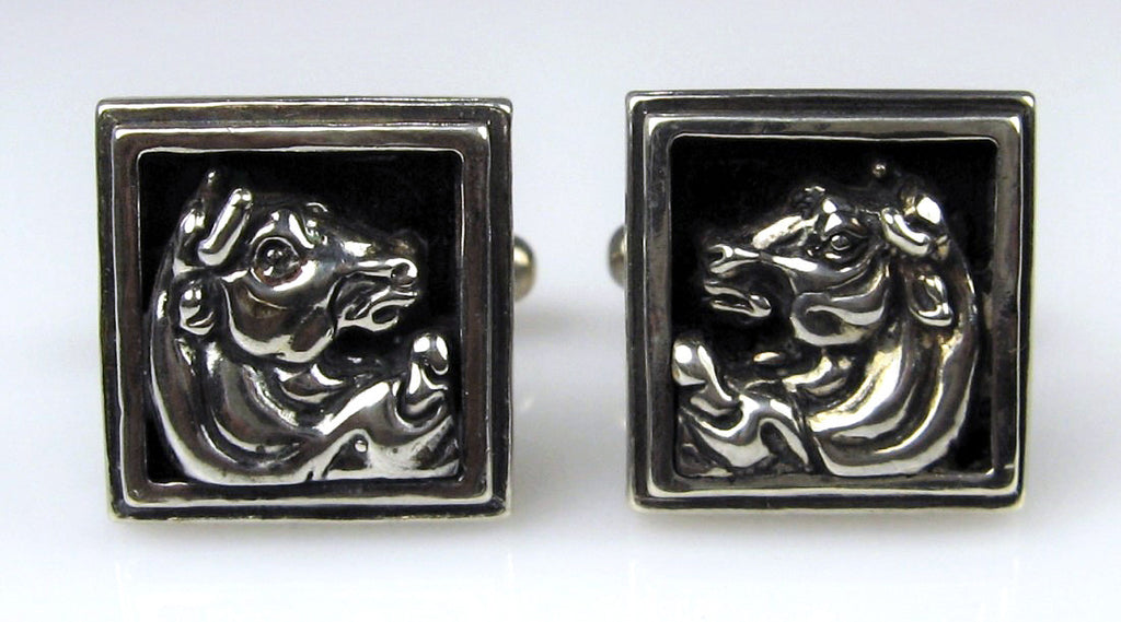 Sterling Silver Etruscan Bull Head Cuff Links
