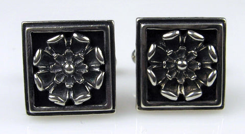 Sterling Silver Lotus Cuff Links