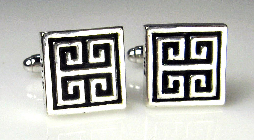 Sterling Silver Greek Key Cuff Links