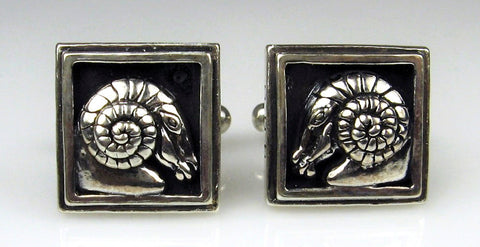 Sterling Silver Ram Head Cuff Links