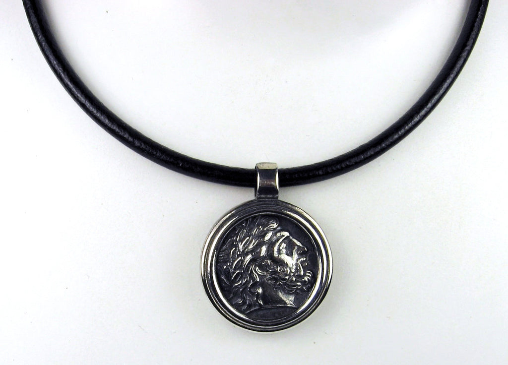 Sterling Silver Greek Coin Pendant on Black Leather Cord