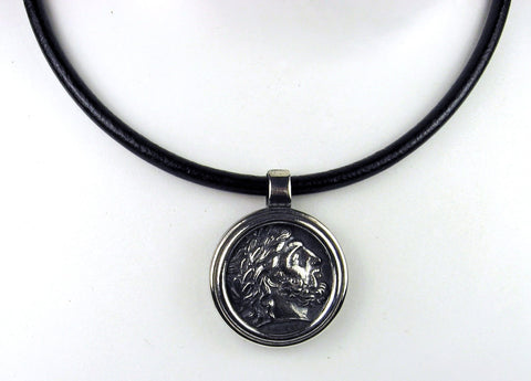 Sterling Silver Greek Coin Pendant