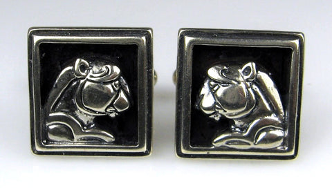 Sterling Silver Panther Head Cuff Links