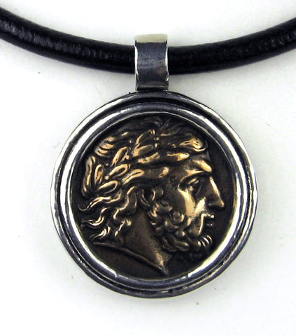 Large Pillip II Bronze Greek Coin Pendant on Black Leather Cord