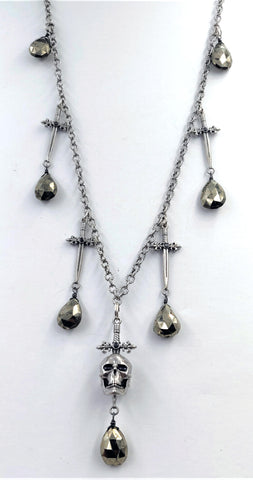 Sterling Silver Sword and Skull Necklace with Black Diamond Center and Hematite Briolette Drops