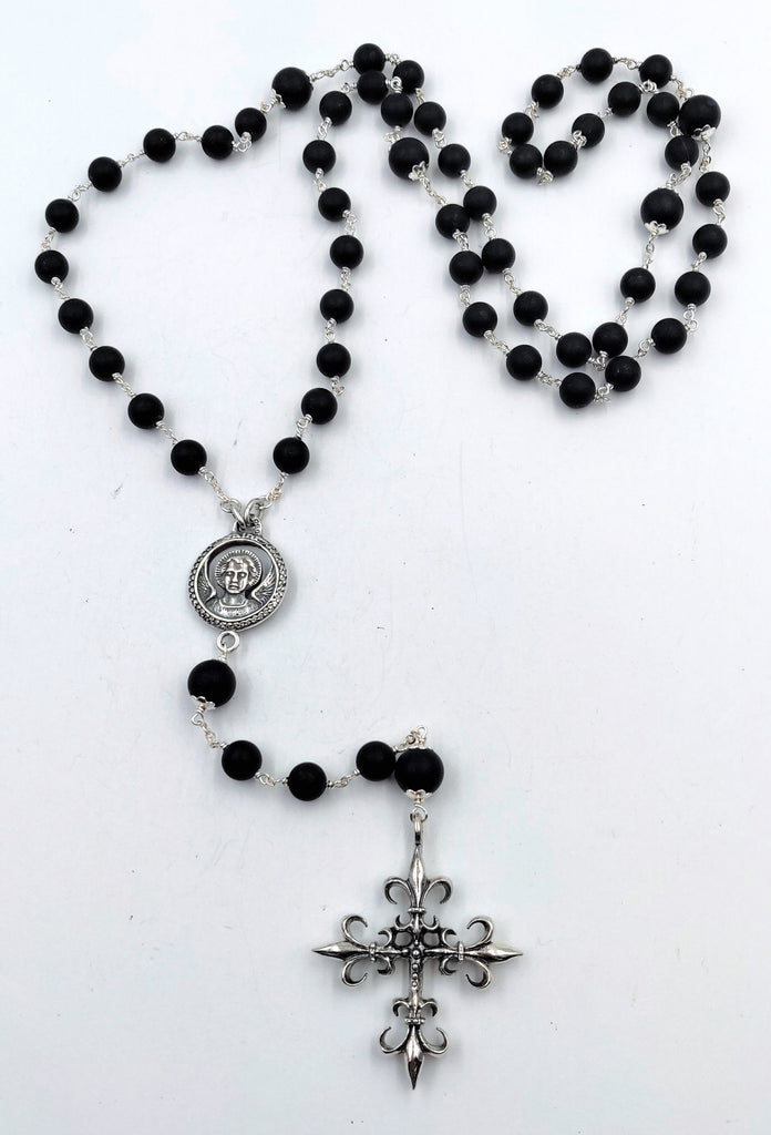 Sterling Silver Rosary with Black and White Diamond Studded Saint and Sinner Medallion, Cross and Onyx Matte Finish Beads