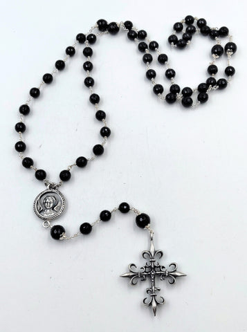 Sterling Silver Rosary with Black and White Diamond Studded Saint and Sinner Medallion, Cross and Onyx Faceted Beads