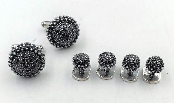 Blackened Sterling Silver Set of 2 Cuff Links, 4 Shirt Buttons with Black Diamonds