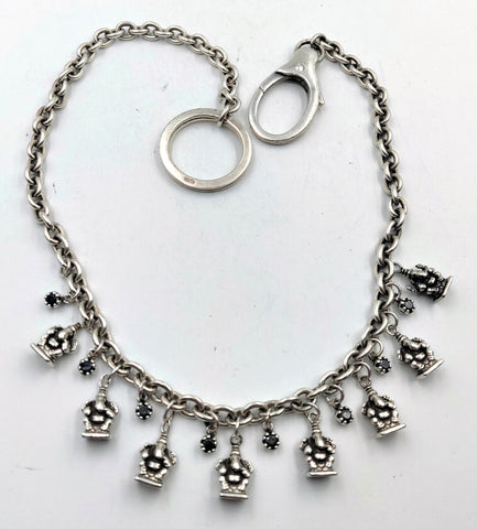 Sterling Silver Wallet/Hip Chain with 8 Ganesha Charms and Black Diamonds with Lobster Clasp
