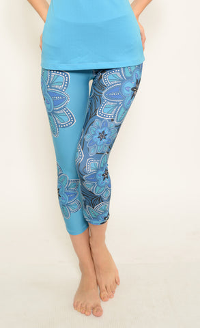 7fa61320ea Design Ink by RM518.   15.00. Ana Zabella Blue Floral Capri Workout Pant  (with pocket)