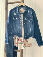Dark wash Cropped Denim Jacket Plus size