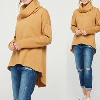 Long sleeve soft-to-touch fabric cowl neck sweater