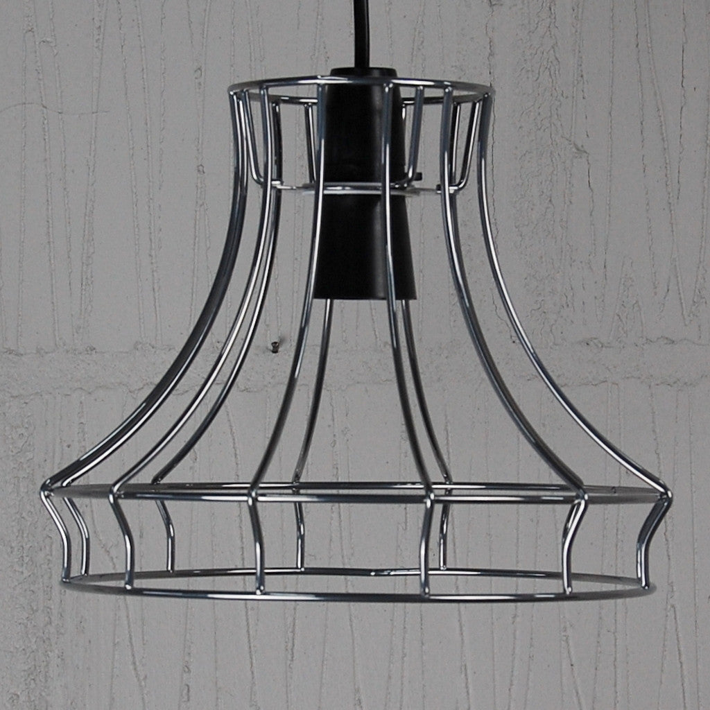 Hazledine industrial chic wire metal lampshade light frame chrome vintage cage lampshade frame greentooth Image collections