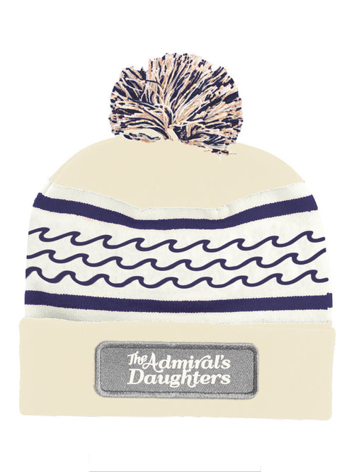 the admiral's daughters ivory navy blue knit waves beanie pom pom winter hat patch