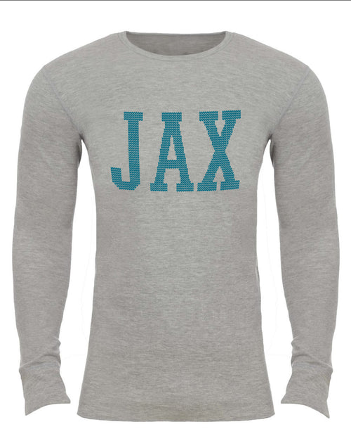 the admiral's daughters heather grey jax jacksonville thermal sweater with teal