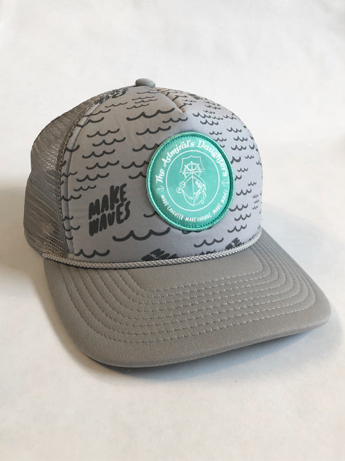 MAKE WAVES GREY TRUCKER SNAPBACK HAT