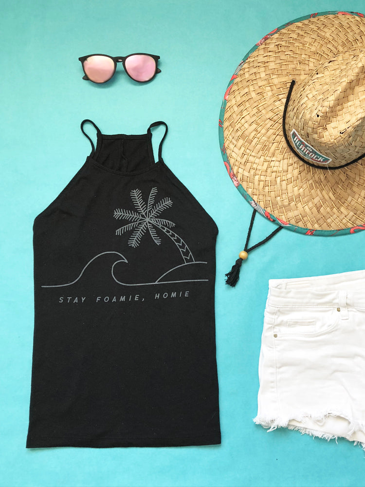 the admirals daughters ocean themed apparel stay foamie, homie high neck black tank top palm tree and wave