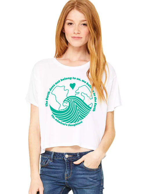 Earth Day Cropped White T-Shirt