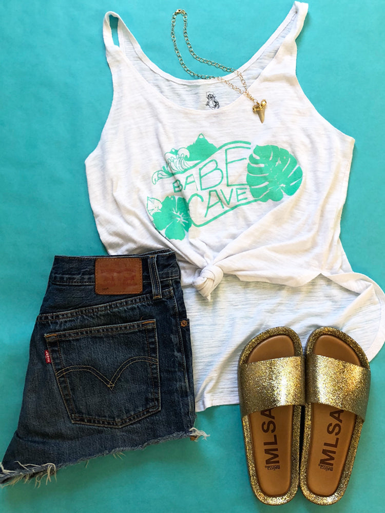 BABE CAVE WHITE SIDE SLIT TANK TOP