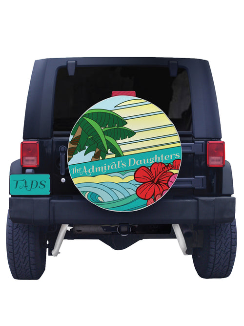 the admirals daughters endless summer beach waves hibiscus palm tree sunset sunrise tire cover jeep