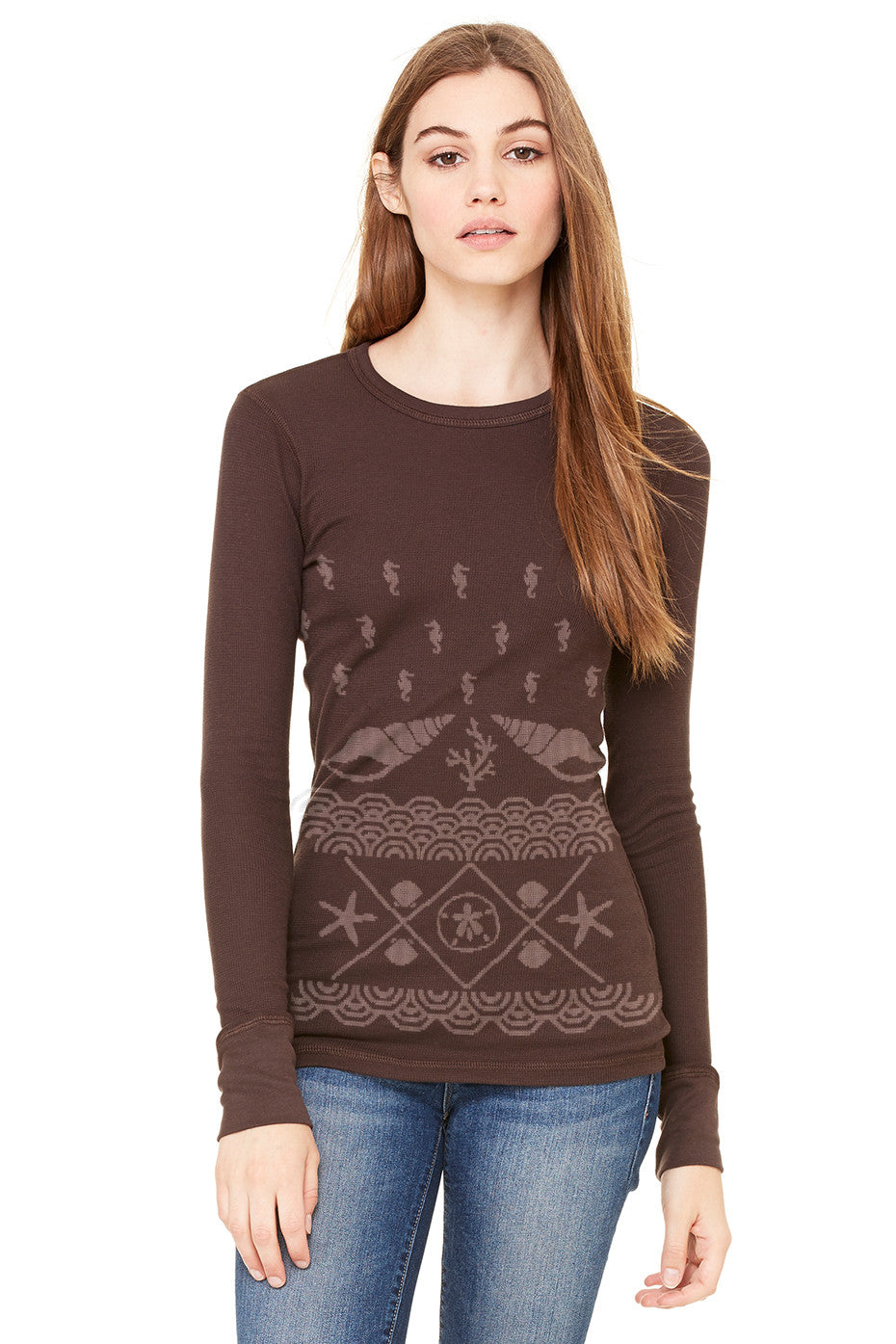 the admiral's daughters under the sea brown long sleeve thermal christmas sweater seashells waves coastal holiday