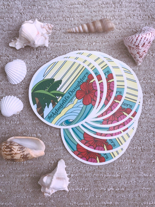 the admiral's daughters vinyl circle endless summer beach stickers