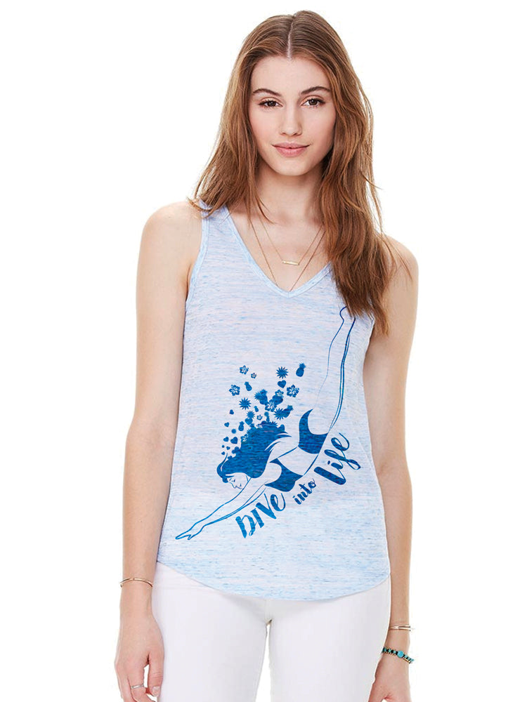 the admiral's daughters blue sleeveless v neck dive into life soft tank top with girl diving
