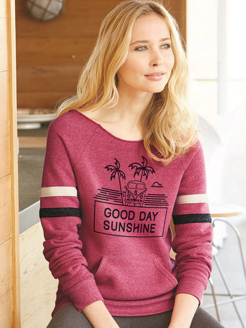 the admiral's daughters good day sunshine berry red wide neck cozy sweatshirt vw van and palm trees with striped