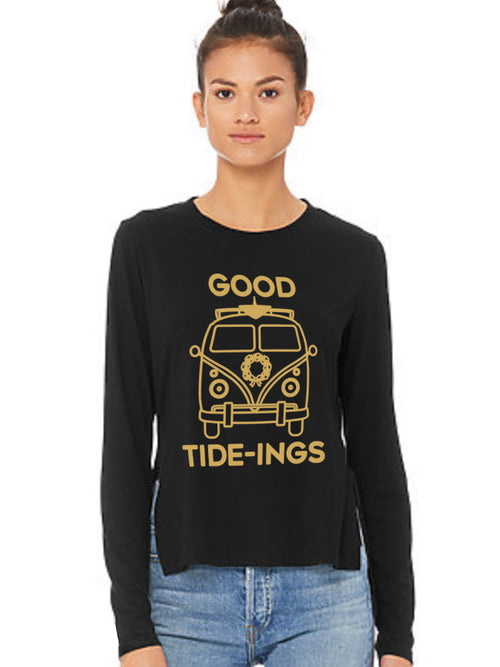 the admiral's daughters black good tide tideing vw bus long sleeve hoodie gold