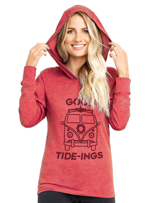 the admiral's daughters red good tide tideing vw bus long sleeve hoodie