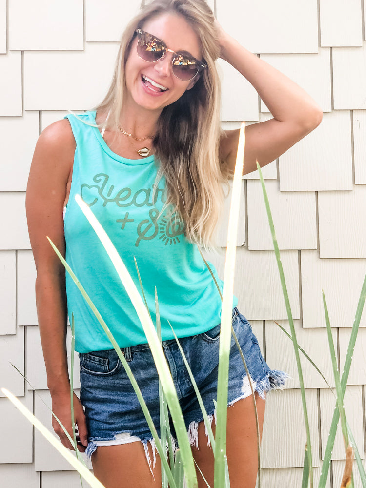 the admirals daughters teal heart and sol muscle tank gold shell necklace sunshine state florida