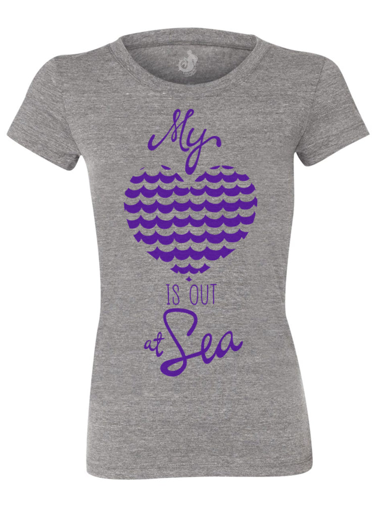 the admiral's daughters my heart is out at sea grey t-shirt round neck fitted purple print with waves and heart design