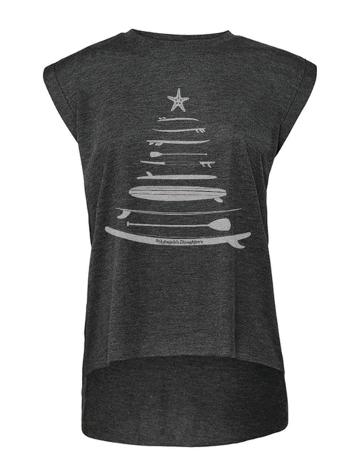 HOLIDAY SLEDS GREY PINNED SLEEVE T-SHIRT