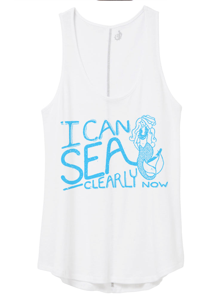 I can sea clearly now see earth day 2020 mermaid coral white tank ocean conservancy