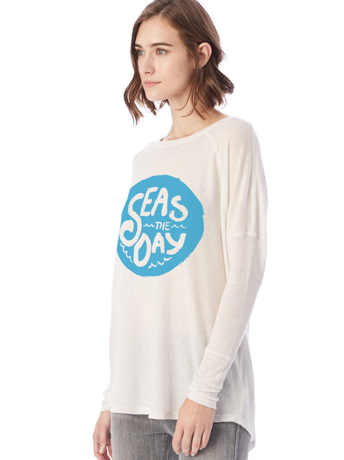 The Admiral's Daughters Seas the Day Ivory Tunic Long Sleeve t-shirt with blue