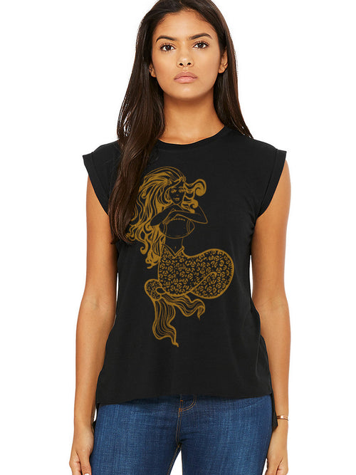 JAGS MERMAID BLACK PIN SLEEVE TANK WITH GOLD