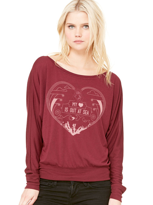 the admiral's daughters my heart is out at sea maroon and pink printed flowy long sleeve t-shirt with waist band