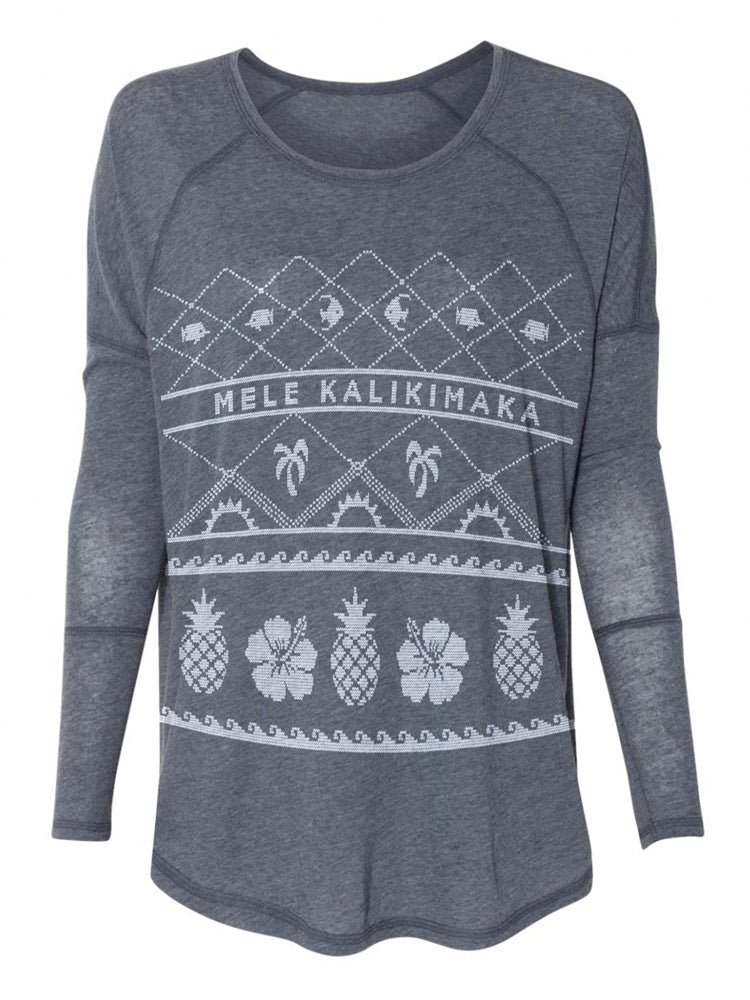 the admiral's daughters blue christmas mele kalikimaka holiday sweater tunic long sleeve t-shirt