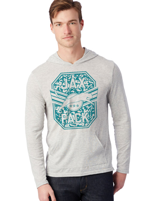 JAGS JAX PACK OATMEAL LIGHTWEIGHT HOODED SWEATSHIRT