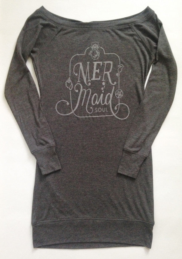 MERMAID SOUL LIGHTWEIGHT EXTRA LONG GREY SWEATER