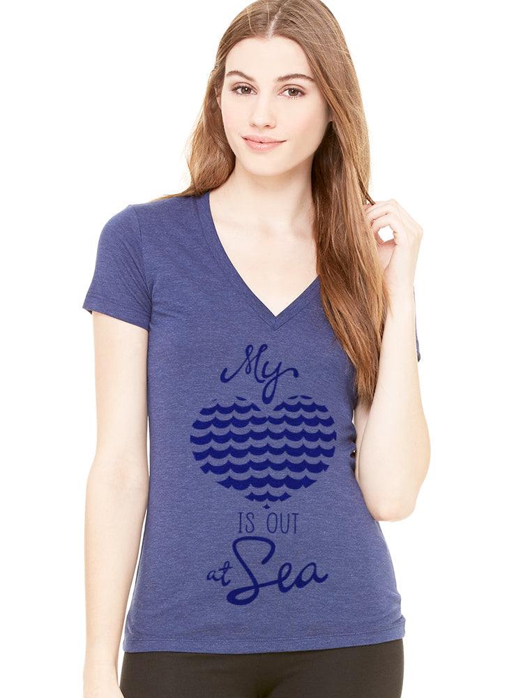 the admiral's daughters my heart is out at sea navy blue t-shirt v neck fitted navy blue print with waves and heart design