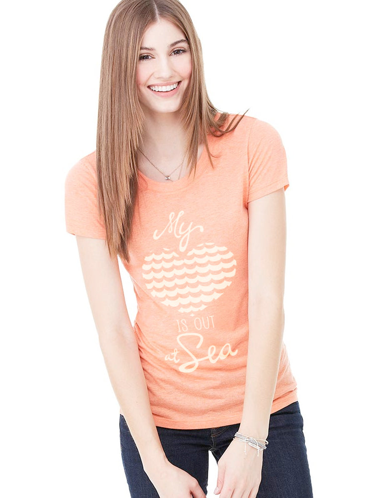 the admiral's daughters my heart is out at sea orange t-shirt round neck fitted ivory print with waves and heart design