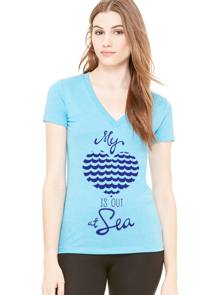 the admiral's daughters my heart is out at sea teal turquoise t-shirt v neck fitted royal blue print with waves and heart design