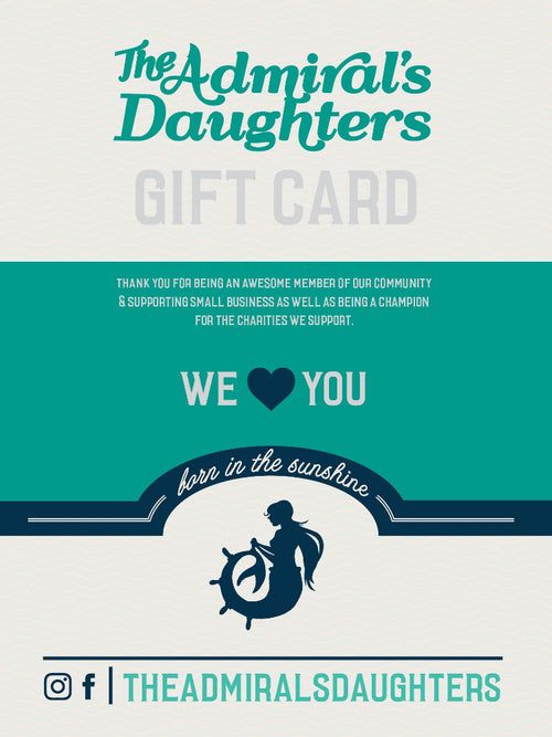 the admirals daughters gift card support charities ocean themed women's apparel jacksonville florida sunshine state