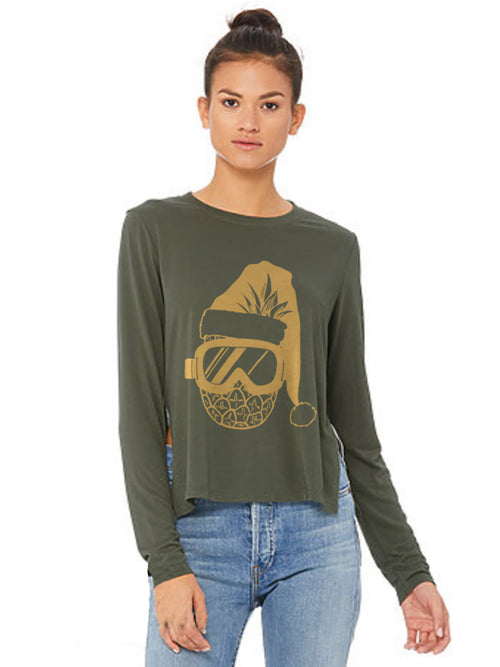 the admiral's daughters pineapple santa claus hat with goggles green long sleeve side slit t-shirt