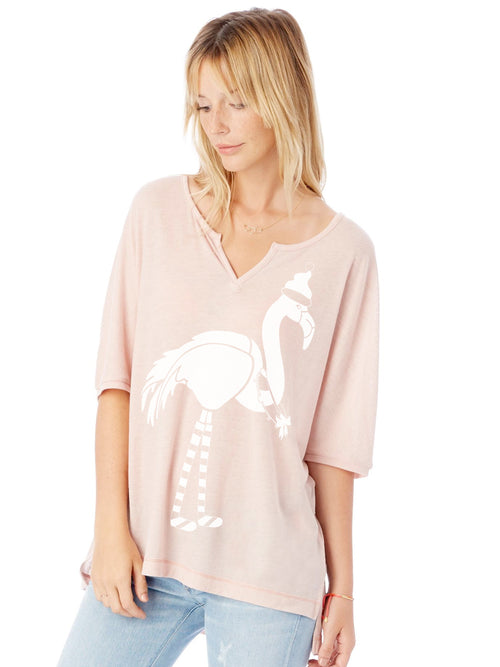 the admiral's daughters pink festive holiday flamingo flowy christmas t-shirt