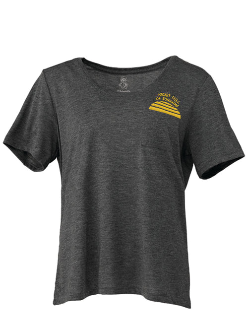 the admiral's daughters pocket full of sunshine grey embroidered flowy t-shirt best seller sunshine state