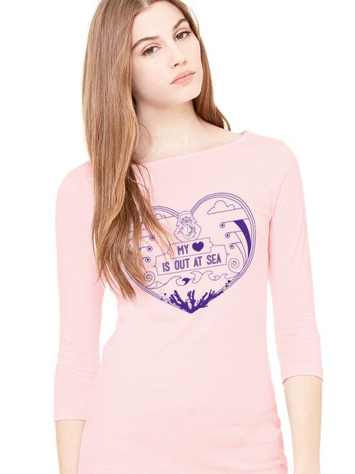 the admiral's daughters my heart is out at sea pink and purple printed fitted long sleeve t-shirt